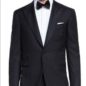 ISAIA Aquaspider tuxedo Black Wool Jacket Size 60